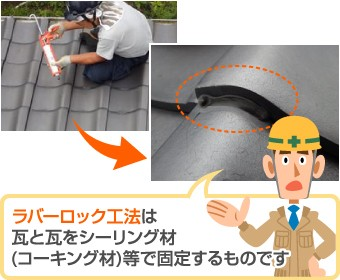 ラバーロック工法とは瓦と瓦をシーリングで固定する工法