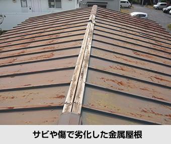 屋根の不具合 サビや傷で劣化した金属屋根