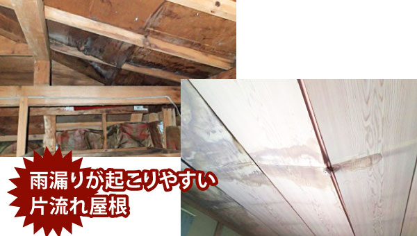 雨漏りが発生した片流れ屋根の室内