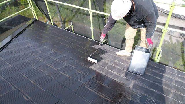 鹿児島市にて2階建てスレート屋根をセミフロンルーフを使用して塗装しました