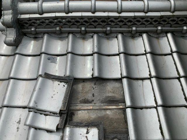雨漏り補修工事瓦撤去