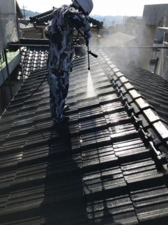高圧洗浄洗い流し 屋根