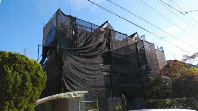 屋根塗装足場設置完成