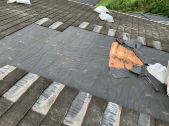 雨漏り補修工事 防水シート撤去