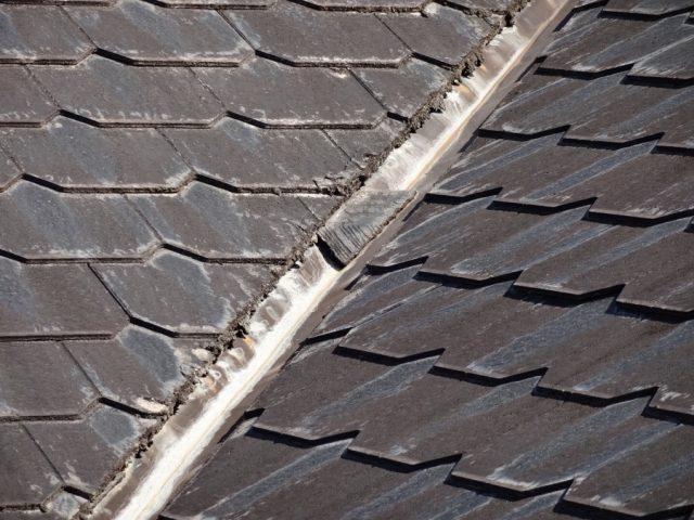 スレート屋根谷部分の傷み
