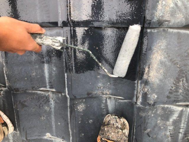 霧島市国分セメント瓦屋根下塗り
