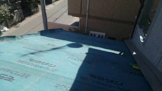 鹿児島市葺き替え工事の様子 防水シート