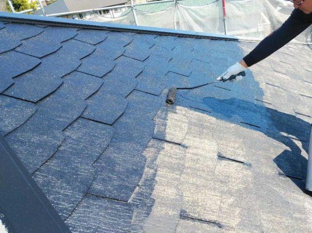 鹿児島市屋根塗装工事中の様子