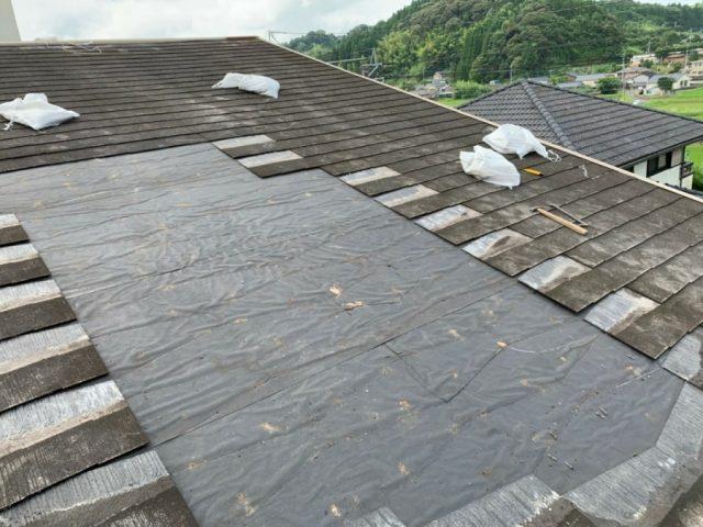 屋根のルーフィング貼り付け後