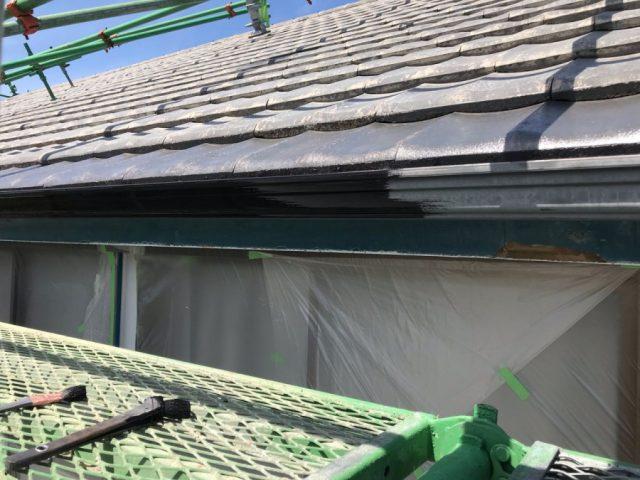 【鹿児島県志布志市】志布志町夏井で183平方メートルの屋根を塗装します雨樋上塗り_1_確定