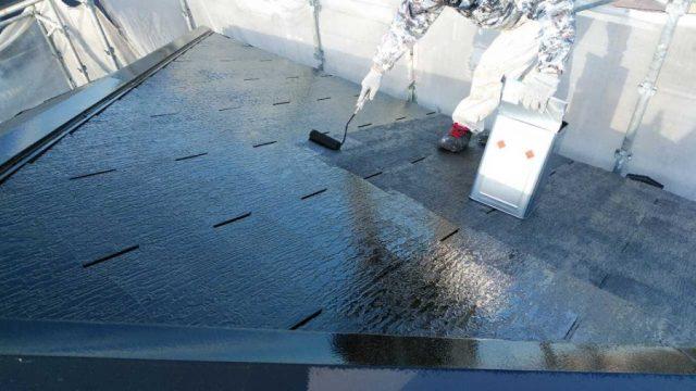 鹿児島市屋根塗装工事 上塗り一回目