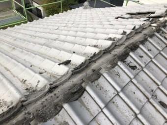 鹿児島市屋根の葺き替え 棟部分撤去