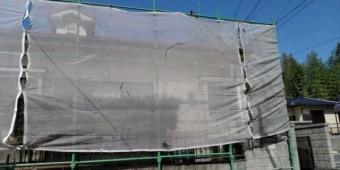 【鹿児島県霧島市】郡田にある三角屋根の住宅でセメント瓦の塗装準備をおこないました!養生