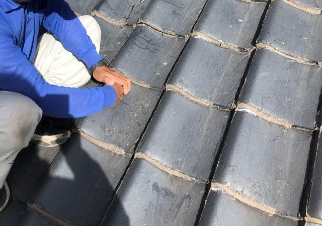 鹿児島市の雨漏れ補修工事の様子