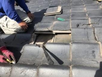 鹿児島市雨漏れ補修工事の様子