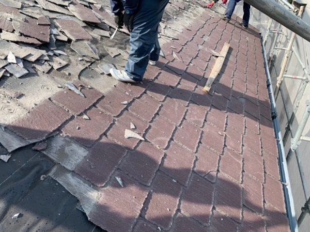 鹿児島市屋根撤去の様子