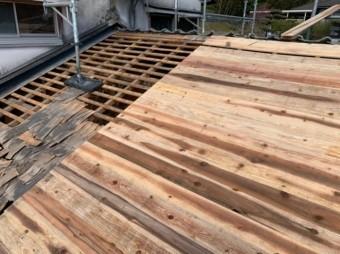屋根葺き替え工事平木撤去