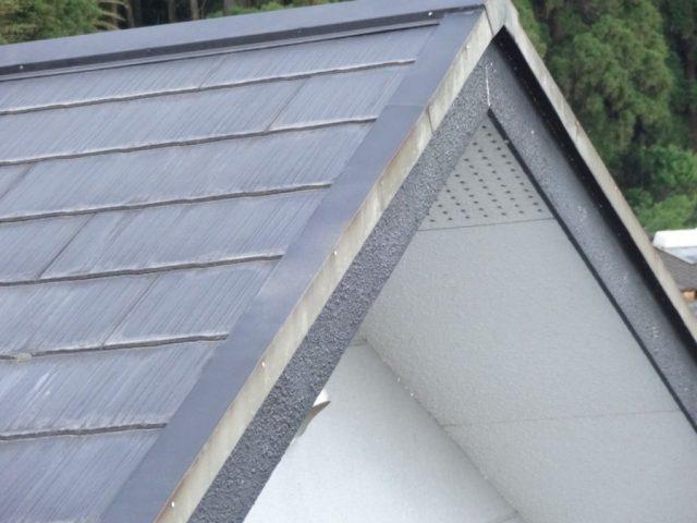 屋根の現地調査の様子 妻の部分