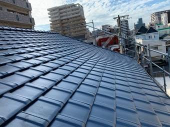 屋根葺き替え完成の様子
