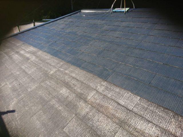 鹿児島市 屋根塗装 中塗りの様子