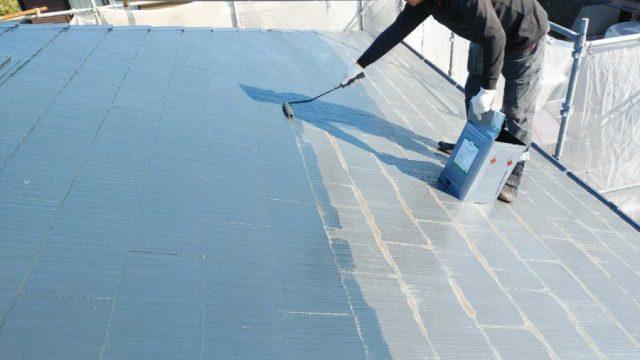 鹿児島市屋根塗装 中塗りの様子