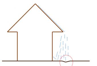 雨樋の腐食により地面が