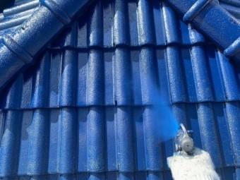 鹿児島市セメント屋根 青色