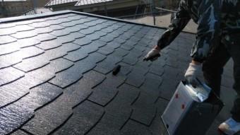 鹿児島市屋根塗装工事 上塗り2回目の様子