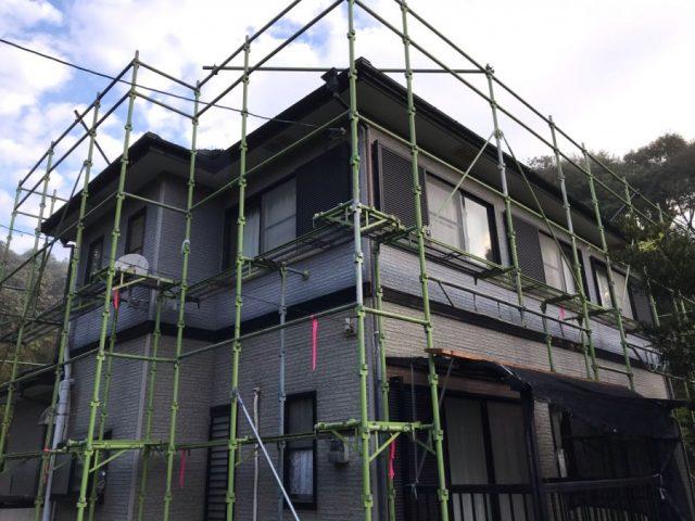 鹿児島市塗装工事 仮設足場の様子