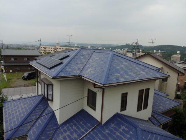 鹿児島市の青色スレート屋根の劣化調査へいっていきました。